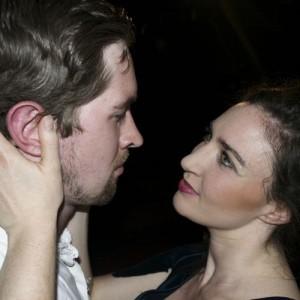 Daniel Collard as Sweeney Todd and Louise Torres-Ryan as Cornelia Lovett, Lovett + Todd, King's Head Theatre © Another Soup