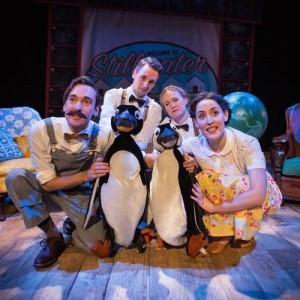 Russell Morton (Mr Popper), Toby Manley (Male Puppeteer), Lucy Grattan (Female Puppeteer) & Roxanne Palmer (Mrs Popper) Credit Helen Murray