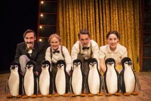 Toby Manley (Male Puppeteer), Lucy Grattan (Female Puppeteer), Russell Morton (Mr Popper) & Roxanne Palmer (Mrs Popper) Credit Helen Murray