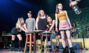 OLOPS. Dawn Sievewright (Fionnula), Isis Hainsworth (Orla), Caroline Deyga (Chell), Frances Mayli McCann (Kylah), Kirsty MacLaren (Manda). Photo credit Manuel Harlan.
